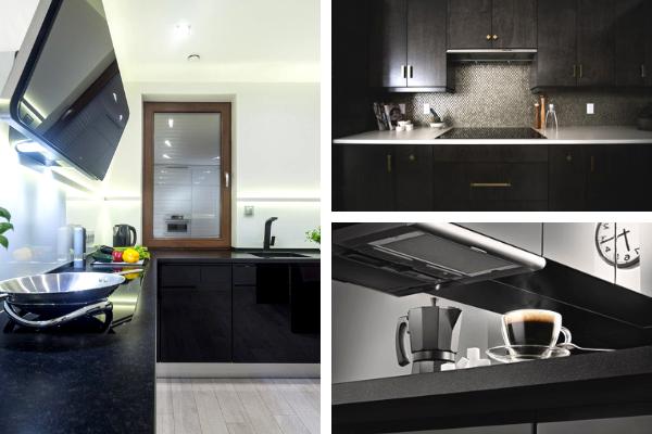 Kolory wkuchni - zdjęcia czarnej kuchni. Projekt kuchni Kuchnie Pinio.