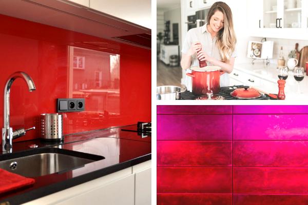 Kolory wkuchni - zdjęcia czerwonej kuchni. Projekt kuchni Kuchnie Pinio.