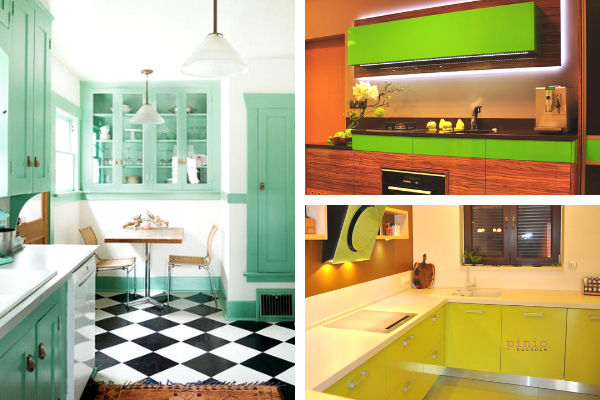 Kolory wkuchni - zdjęcia zielonej kuchni. Projekt kuchni Kuchnie Pinio.