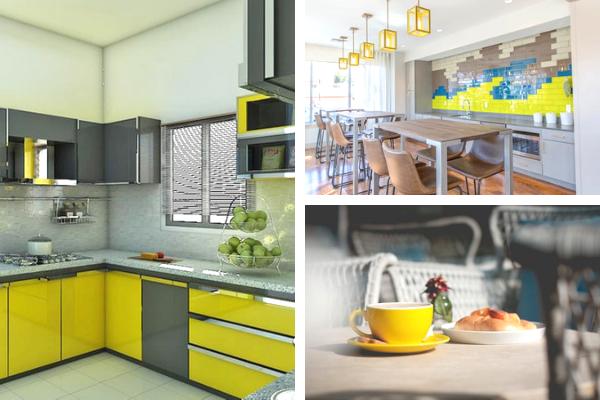 Kolory wkuchni - zdjęcia żółtej kuchni. Projekt kuchni Kuchnie Pinio.
