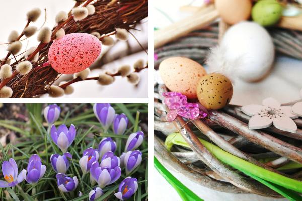 Dekoracje wielkanocne nastół - kwiaty istroik wielkanocny. Projektowanie designy kuchni byKuchnie Pinio.