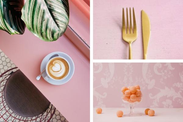 Modne kolory dokuchni 2020 - różowy. Różowy parapet wkuchni, różowa tapeta wkuchni iblat, złote sztućce kuchenne.