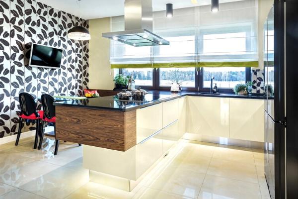 Projekt kuchni zjadalnią isalonem - Kuchnie Pinio Tychy